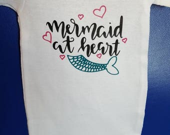 Mermaid at heart baby onesie