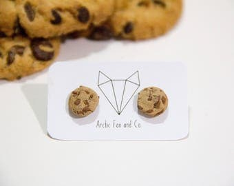 Choc Chip Cookie Stud Earrings - Handmade Polymer Clay