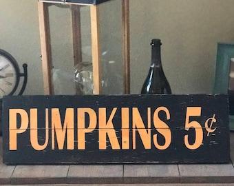 Handmade pumpkin sign