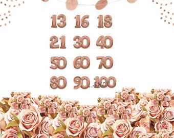 "Rose Gold Number Balloons, Age Number, Party, Custom, Wedding, Anniversary, 34"" balloons, rose gold balloons, copper, birthday balloons"