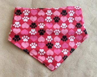 Paws n' Hearts Red CUSTOM MADE Dog or Cat Bandana