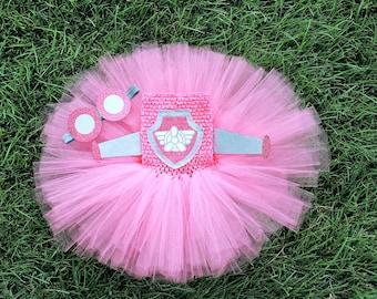 Paw Patrol Skye inspired Tutu Dress with Goggles Headband- Personalized Birthday Outfit-Custom Birthday Tutu-Halloween Tutu-Skye