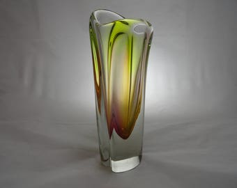 Novy Bor multicoloured vase from the  1960's.