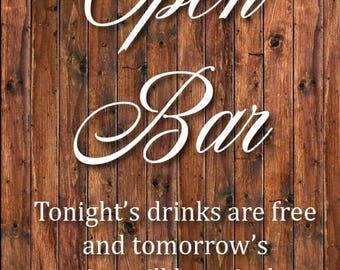 Open Bar Sign, Wooden, Rustic Bar Sign *INSTANT DOWNLOAD*