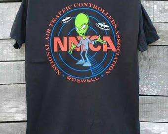 Vintage NATCA  alien roswell 90s t shirt