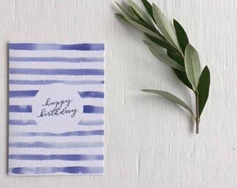 Happy birthday card - blank notecard - illustration - watercolour - nautical - calligraphy