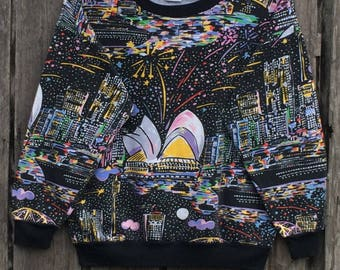 Rare! Vintage 90's KEN DONE full print  Australian Designer Pop Art Under Down Australia Crew Neck Pullover Sweatshirt blue