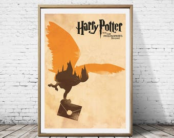 Harry Potter And The Philosopher's Stone Hedwig Owl Pet Hogwarts Ministry of Magic Artwork Alternative Traveling Movie Poster Print