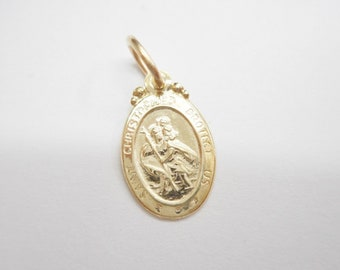 St. Christopher, Gold Charm, Protect Us Charm, Vintage Charm, Genuine 10K Yellow Gold St Christopher Protect Us Small Charm Pendant #4280