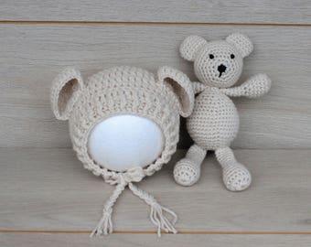 Beige Newborn Bear Bonnet & Teddy Bear Cuddle Buddy Set