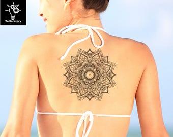Mandala Tattoo Mandala Temporary Tattoo Large Mandala Tattoo Mandala Fake Tattoo Tatouage Temporaire Mandala Back Tattoo Thigh Tattoo