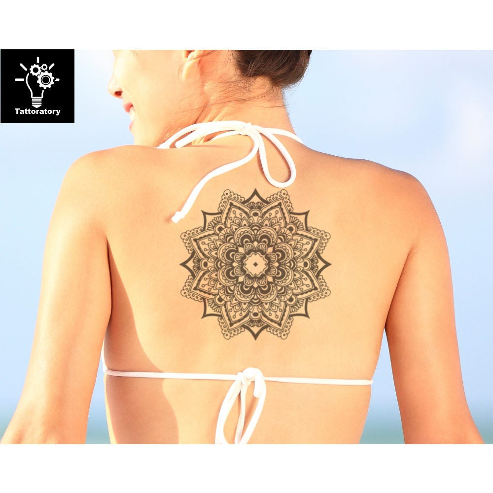 mandala tattoo mandala temporary tattoo large mandala tattoo. Black Bedroom Furniture Sets. Home Design Ideas