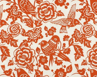Duralee Aviary Tangerine Fabric- Curtains, Accent Pillows