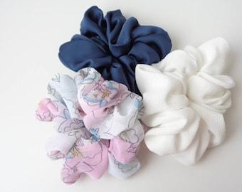 A set of 3 scrunchies, white , Navy blue and pink scrunchies   scrunchie Chouchou, hair accessories, handmade by ScrunchiesCo