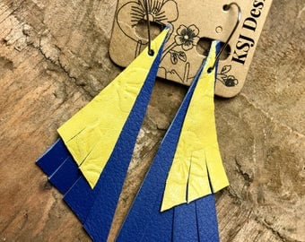 Blue and Yellow Leather earrings
