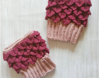 Dragonscale boot cuffs - crochet boot cuffs - maroon boot cuffs - boot toppers - crocodile stitch welly cuffs - dragonscale boot toppers