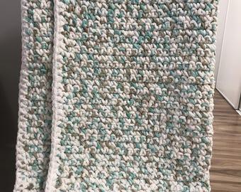 Baby Blanket-Sea Foam/White Multi colour