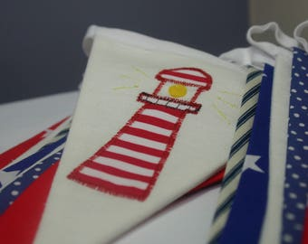 Nautical Bunting featuring boats, anchors and lighthouse