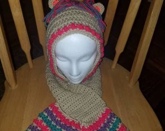 Hooded unicorn scarf with hand pockets