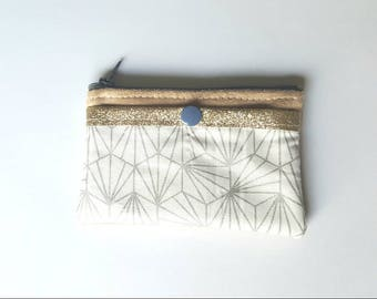 Fabric and camel suede purse silver and white geometric/graphic, fabric glitter pocket for credit card