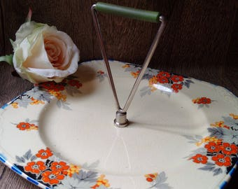 ART DECO PARROT & Company Burslem vintage afternoon tea or wedding plate // Coronet vintage Art Deco cakestand with Bakelite handle
