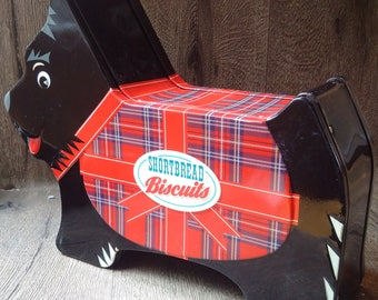 Scottish Shortbread advertising tin // cute  Scottish Terrier promotional cookie tin or biscuit container // great gift for Scotland lover