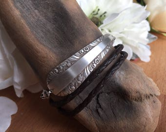 Silver and Leather Wrap Bracelet