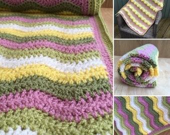 Spring baby blanket, Ripple Stitch Crochet Handmade Baby Blanket, girls baby blanket, bright baby blanket, pink and green baby blanket,