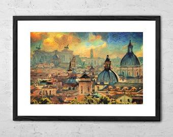 Rome - Impasto Painting - Rome Painting - Rome Italy - Rome Art - Rome Print - Italy Wall Art - Italy Poster - Italy Painting - Italy Print