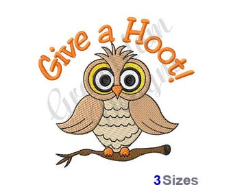 Give A  Hoot Owl - Machine Embroidery Design