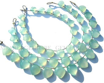 Chalcedony Peruvian Smooth Love Heart beads, Quality AAA, 8 to 9.50 mm, 18 cm, 15 pieces, CHALCED-018/1, Semiprecious Stone, Craft Supplies