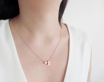 Puppy dog necklace, kids necklace, rose gold necklace, cute necklace