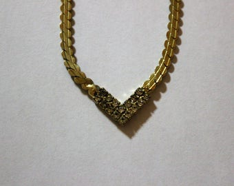 Gold Toned V Necklace with Crystals Vintage Fashion Costume Jewelry Beautiful