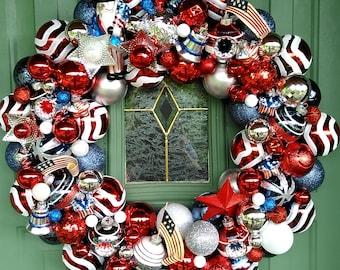 America the Beautiful-- Handmade Door Patrotic Ornament Wreath-- Celebrate Independence Day