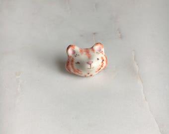 White & Orange Kitty Cat Porcelain Magnet