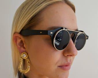 Vintage Style Matte Black Sunglasses