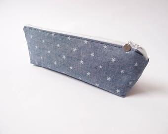 Trousse bleu jean à étoiles – doublure bleue marine - trousse écolier à crayons scolaire