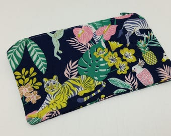 In the Jungle Tropical Zipper Pouch - makeup bag; pencil case; gift for her; cosmetic bag; carry all; gadget case; birthday; coin purse