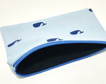 Whales Novelty Zipper Pouch - makeup bag; pencil case; gift for her; cosmetic bag; carry all; gadget case;