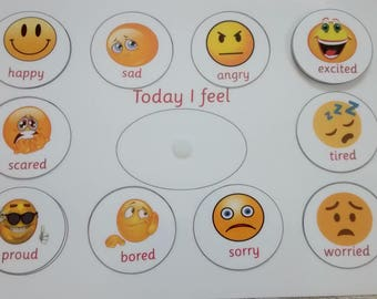 Today I feel, emotions, express feelings, emotions board, I feel happy, sad, angry, proud, display board for feelings, aid behaviour, visual