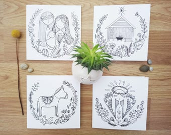 Nativity | Set of 4 Christmas greetings cards