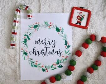 Merry Christmas printable sign, classic Christmas sign, Christmas wreath printable