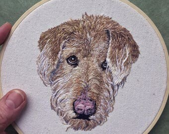 Embroidered, Embroidery Pet Portrait, Custom Dog Portrait, Custom Embroidery Cat Portrait