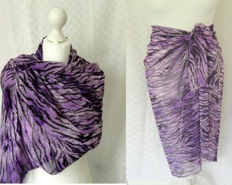 Designer Purple chiffon animal print scarf, Animal print scarf, Scarf for her, Lightweight scarf, Fashion scarf, Shawl, Sarong