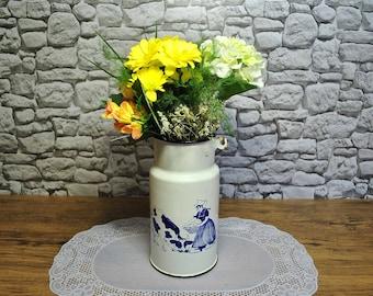 Vintage Milk Can with Folk mottive, Milk Churn, Milk Cans, Milk can, White milk can, Enamelware, milk jug, Antique Milk Can, Old Milk Can