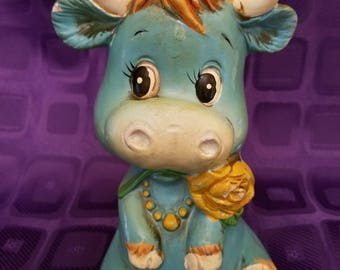 Vintage 1970's Groovy Blue Bull Plaster Coin Bank
