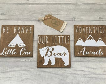 Our little bear, Bear wall sign set, nursery decor, scandi bear, adventure awaits, be brave wall art