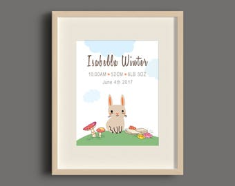 Forest Rabbit Birth Announcement Art Print - 8x10 - UNFRAMED