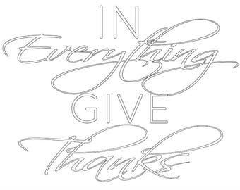 In Everything Give Thanks Coloring Sheet 8x10 landscape