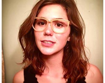 1980's Christian Dior Frames Glasses Clear Peach Wayfayer Frames Eyewear